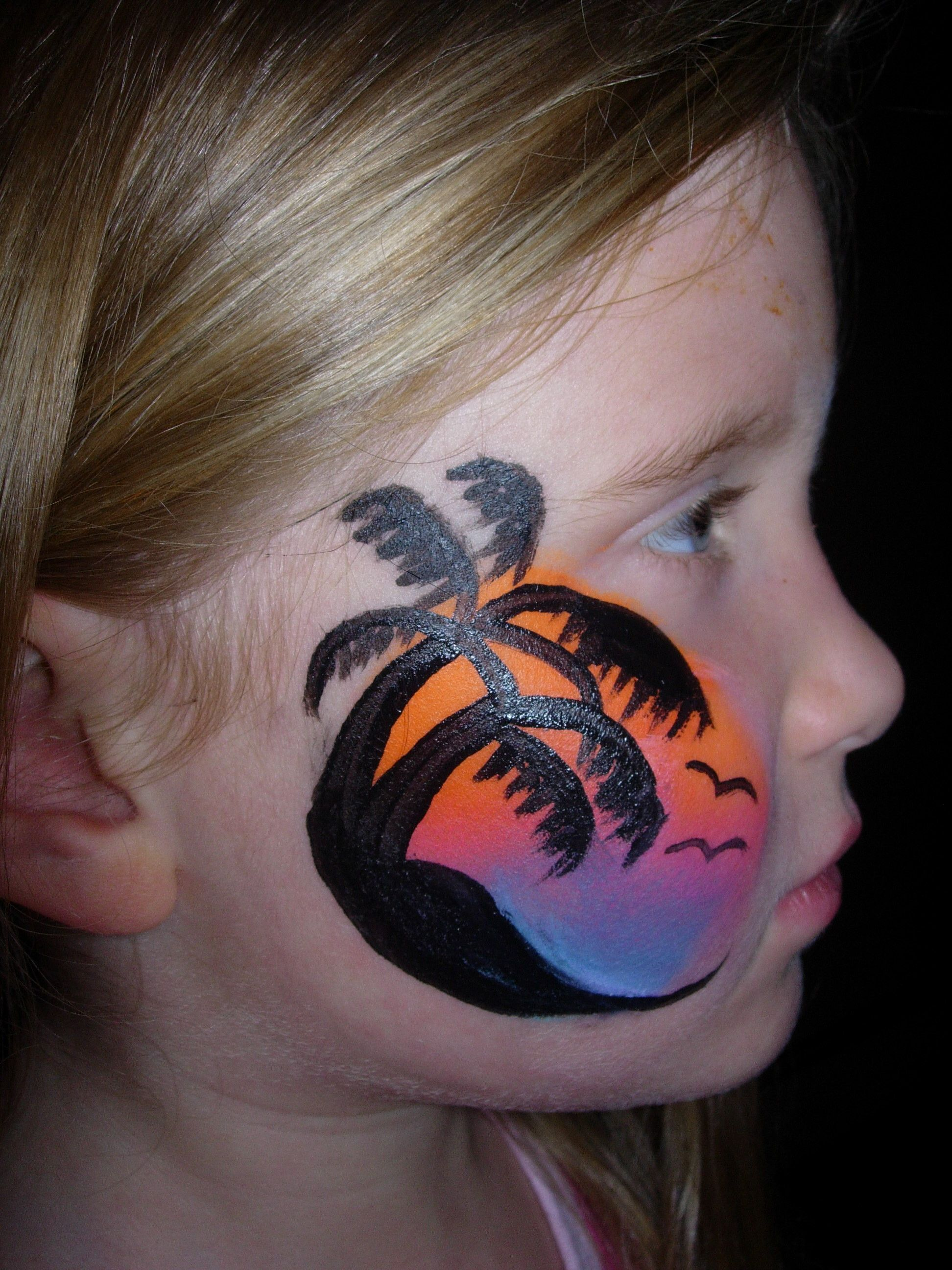 Sunset Palm Trees Smiley Faces By Jo Pirate Face Paintings Face Painting Face Painting Designs