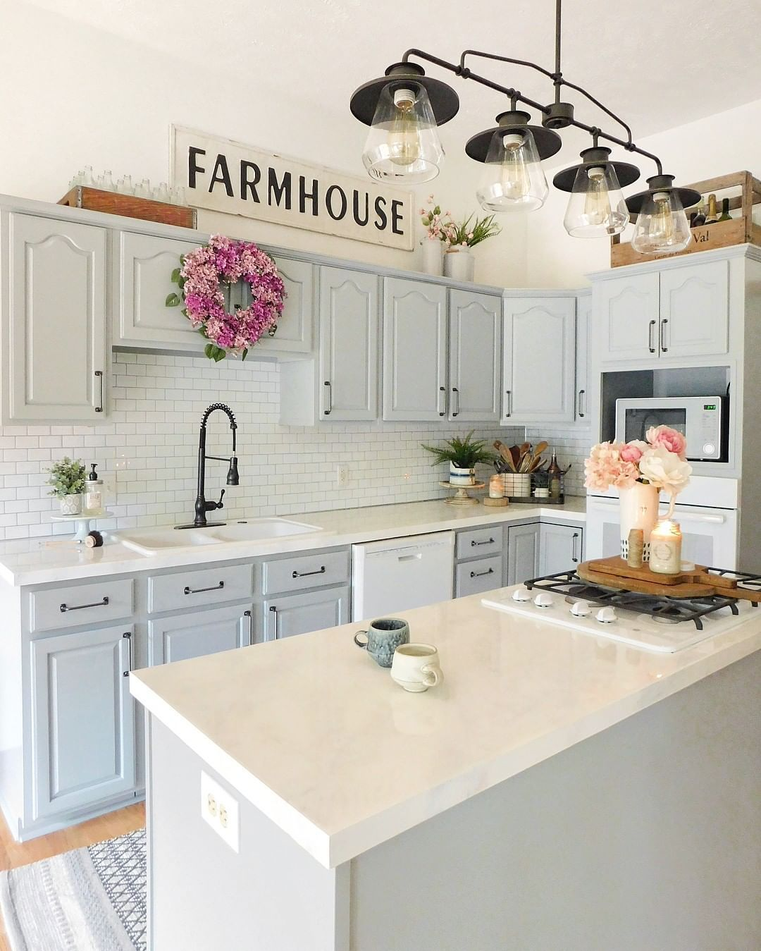 """DECORSTEALS.COM on Instagram: """"Who says your kitchen has to be traditional all-white? We are loving the light gray cabinets of @the.sycamore.farmhouse kitchen!"""