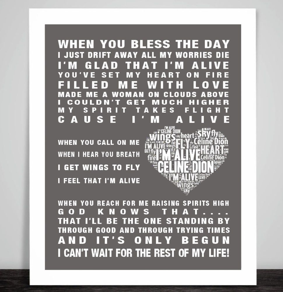 Celine Dion I M Alive Music Love Song Lyrics Word Art Print Valentine Heart Gift Love Songs Lyrics Art Print Gifts Celine Dion