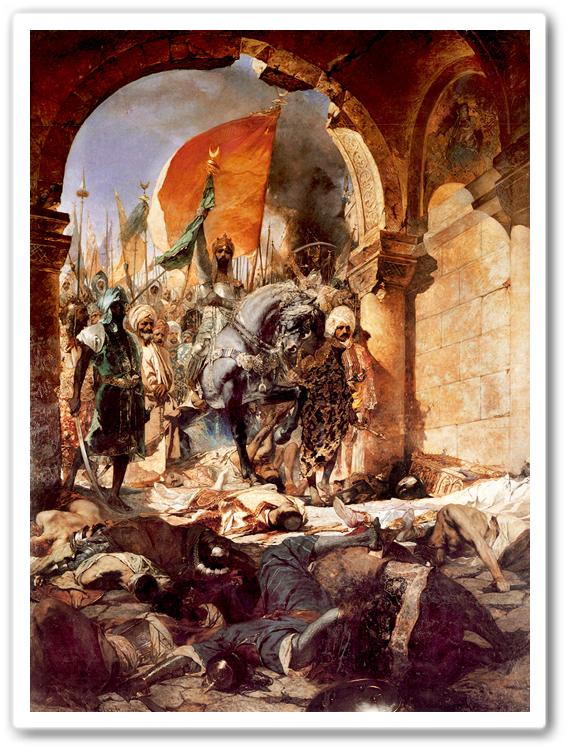 En muslimsk armé intar en stad. Islams härar under medeltiden var, vilket faktiskt framgår av denna målning, sammansatta av många olika folk. Detta är ett tecken på de vidsträckta kontakter som araberna hade med afrikanska och asiatiska riken – det som möjliggjorde framställningen av damaskusstål.