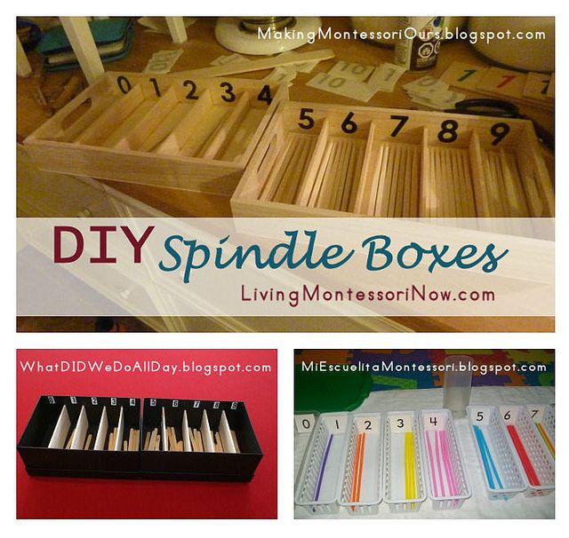 DIY Montessori Spindle Boxes - a roundup post with lots of ideas for making your own spindle box(es) to help children understand the numbers 0-9