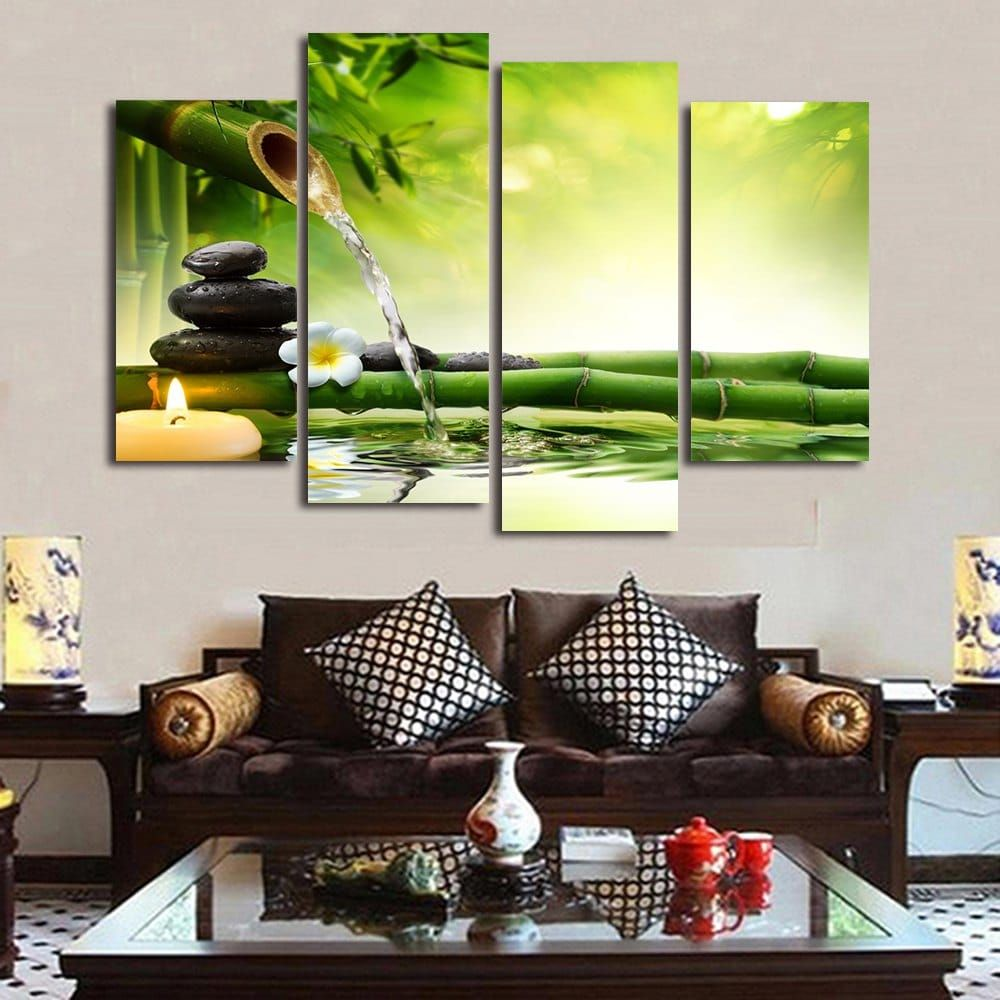 Bamboo Stream Print Unframed Canvas Paintings Colormix 2pcs 12 24 2pcs 12 31 Inch No Frame