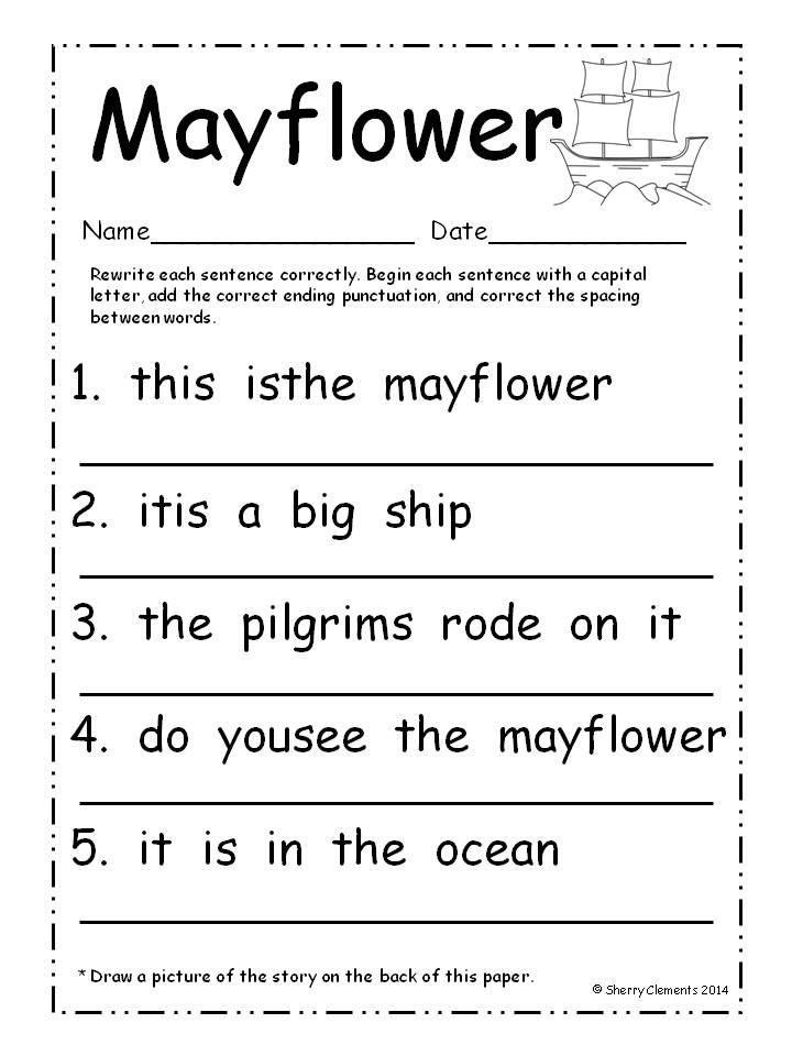 Grade 1 Printing Sentences Worksheets