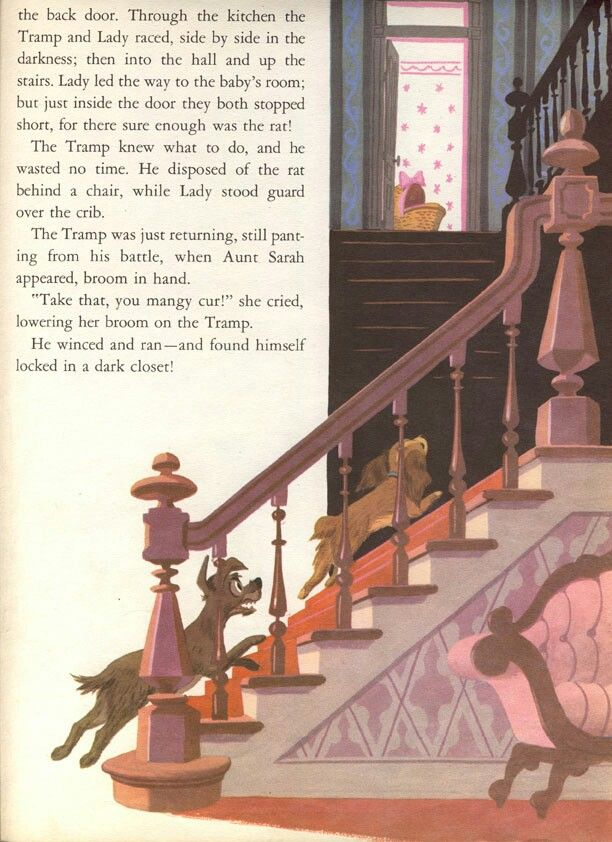 And There S The Part When They Save The Baby From The Rat Lady And The Tramp Disney Art Storybook
