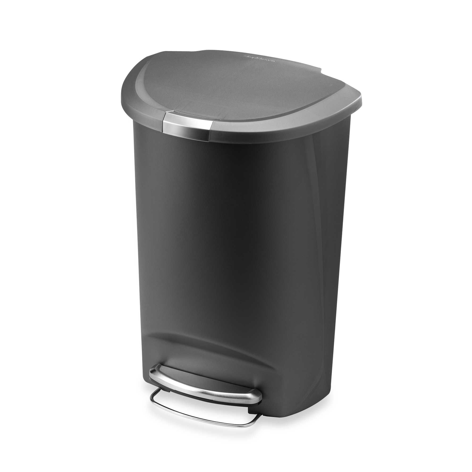 simplehuman® Plastic Semi-Round 50-Liter Step-On Trash Can ...