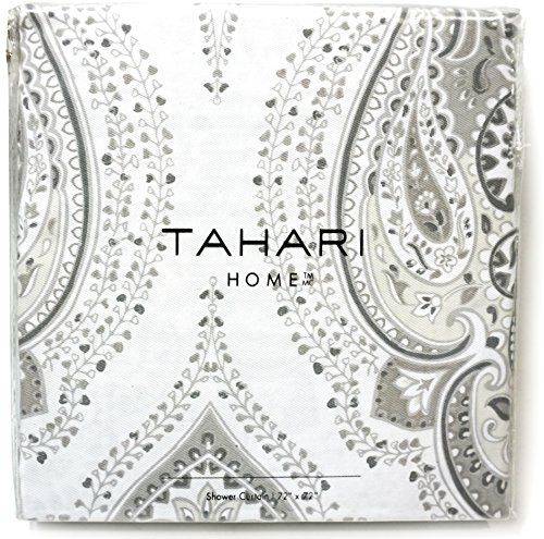 Tahari Luxury Bohemian Style Persian Moroccan Medallion Cotton Blend Shower Curtain Grey White Paisley Ornament 72