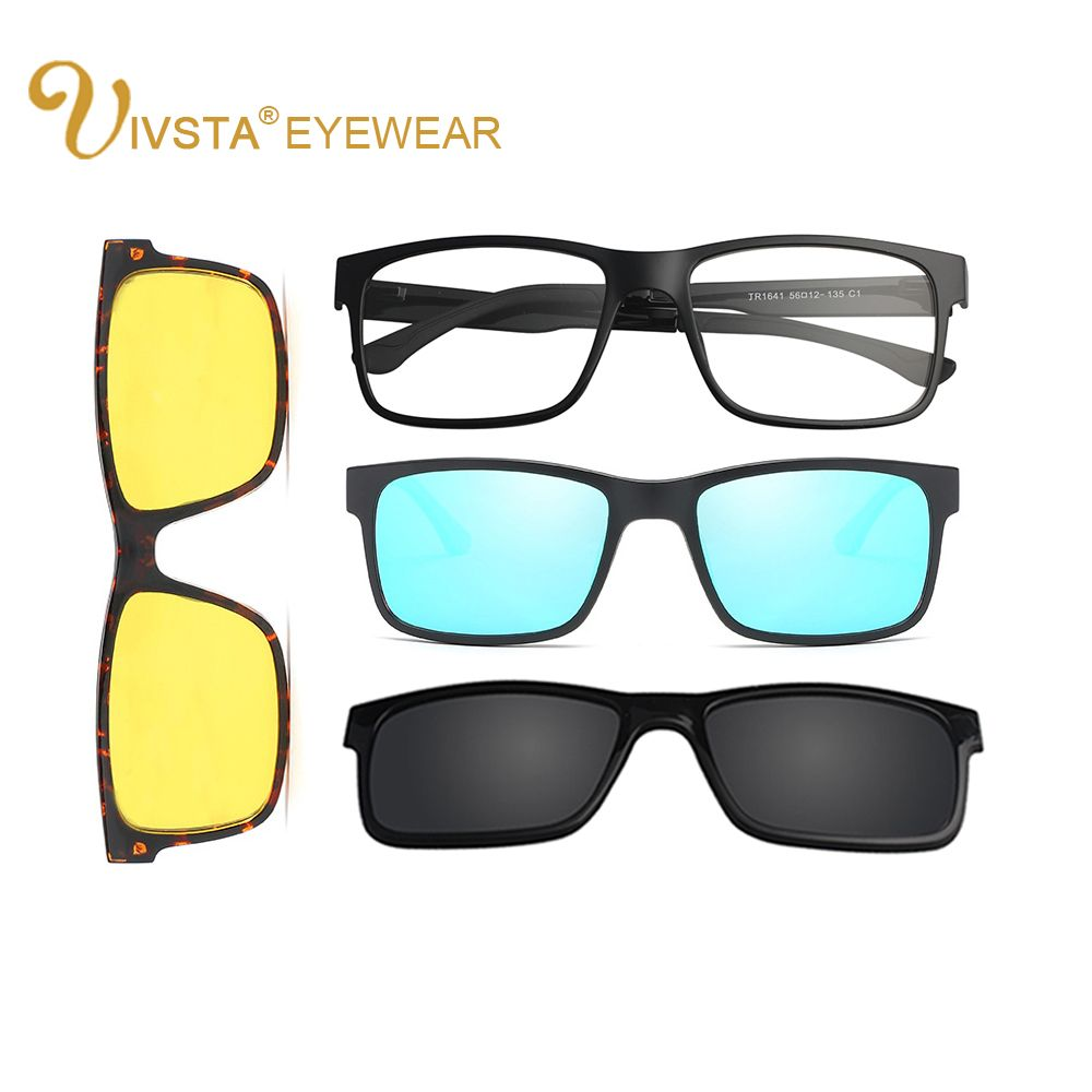 72a929da75 IVSTA Include Frame Polarized Clip On Sunglasses Men TR90 Custom prescription  lenses Magnetic clips night glasses