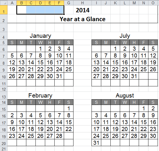 Perpetual Calendar in Excel Spreadsheet. Just change the year and ...