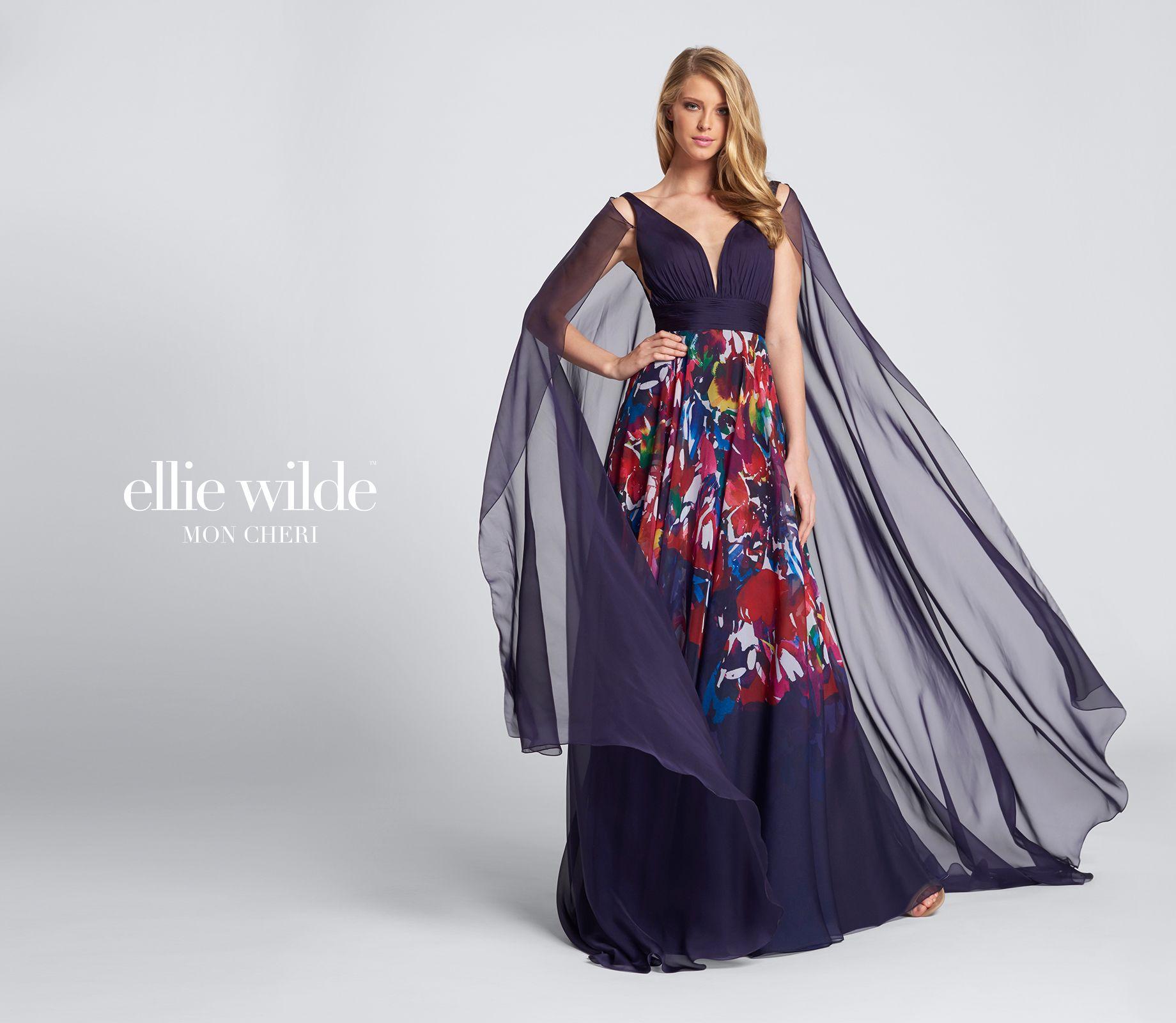 Purple floral chiffon prom dress ellie wilde ew floral