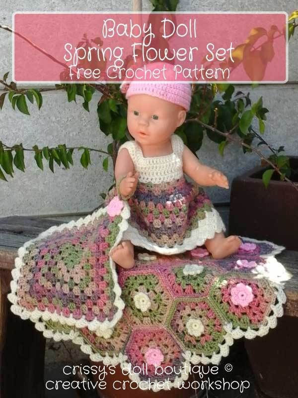 Baby Doll Spring Flower Set Free Crochet Pattern Creative