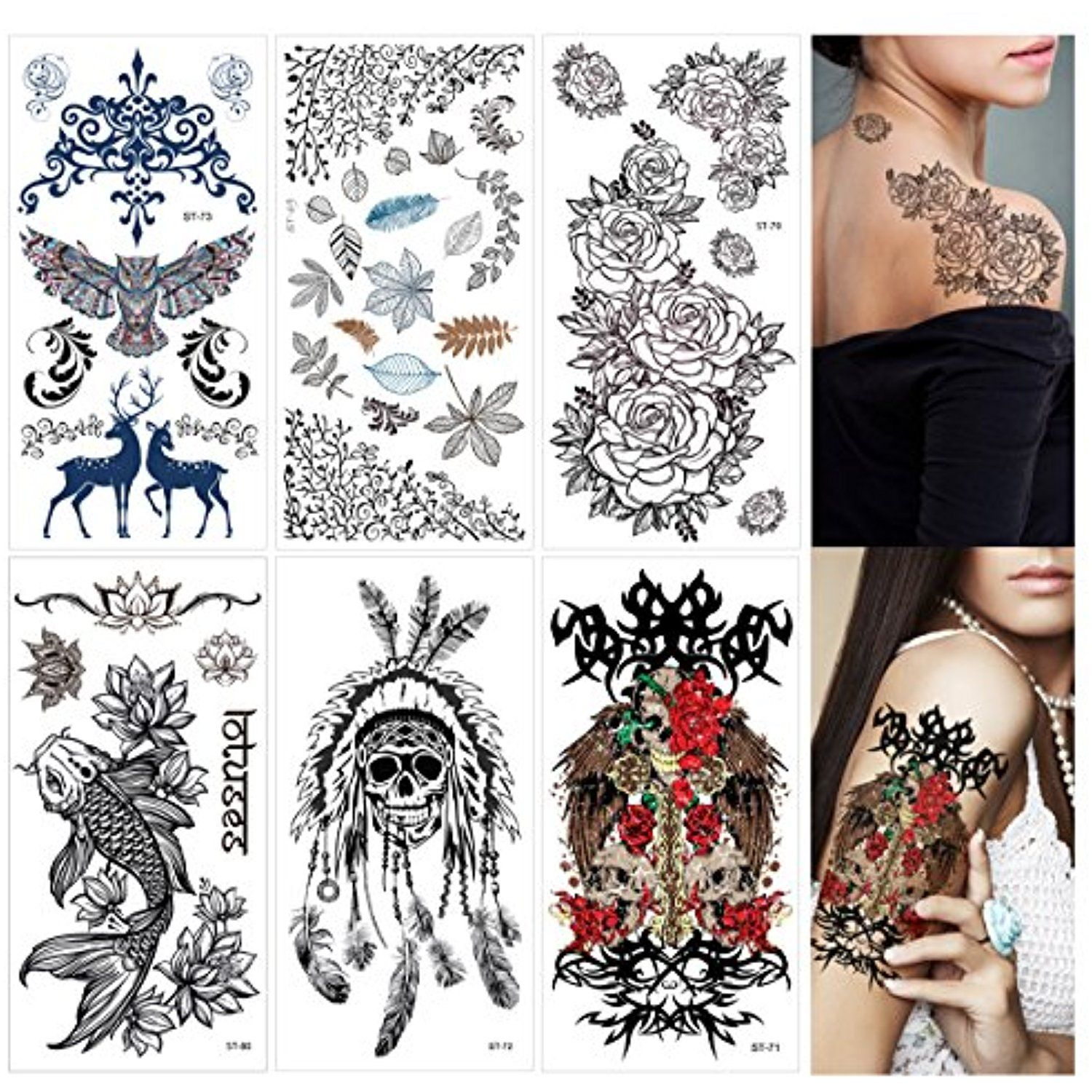 Supperb Mix Nature Floral Spirit Temporary Tattoos 6 Pack Twin Roses Leaves Skull Koi Fish Lotus Owl Temporary Tattoos Tattoos Halloween Makeup Looks