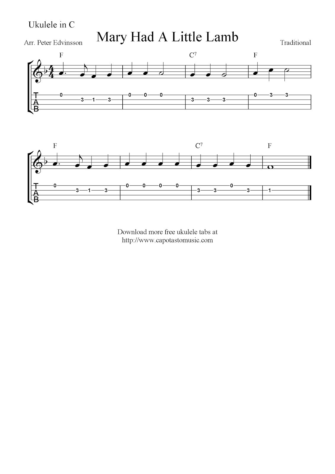 Happy birthday to you free ukulele tab sheet music ukulele free sheet music scores mary had a little lamb free ukulele tablature sheet music hexwebz Choice Image
