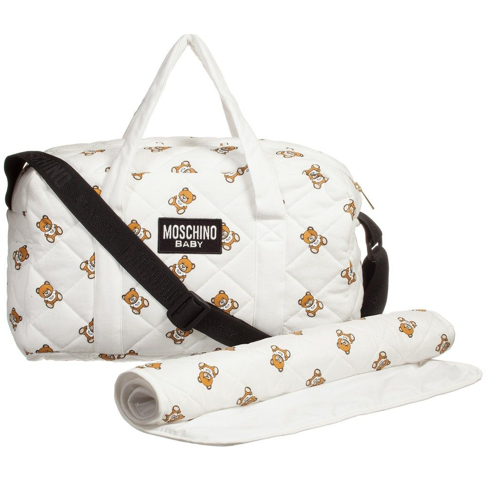 Moschino Baby - Quilted Ivory  Teddy Bear  Baby Changing Bag   Mat (39cm)    Childrensalon 3c53cda4a5c