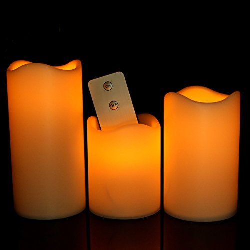 "Youngerbaby Set of 3 Yellow Flickering Flameless Plastic Remote Control LED Candles With Timer,Height 3"" 4"" and 5"" - Diameter 3"""