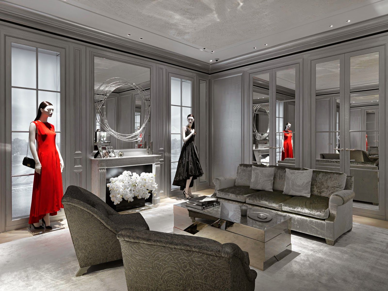 Dior boutique interior google search wood spring for Modern home decor boutiques