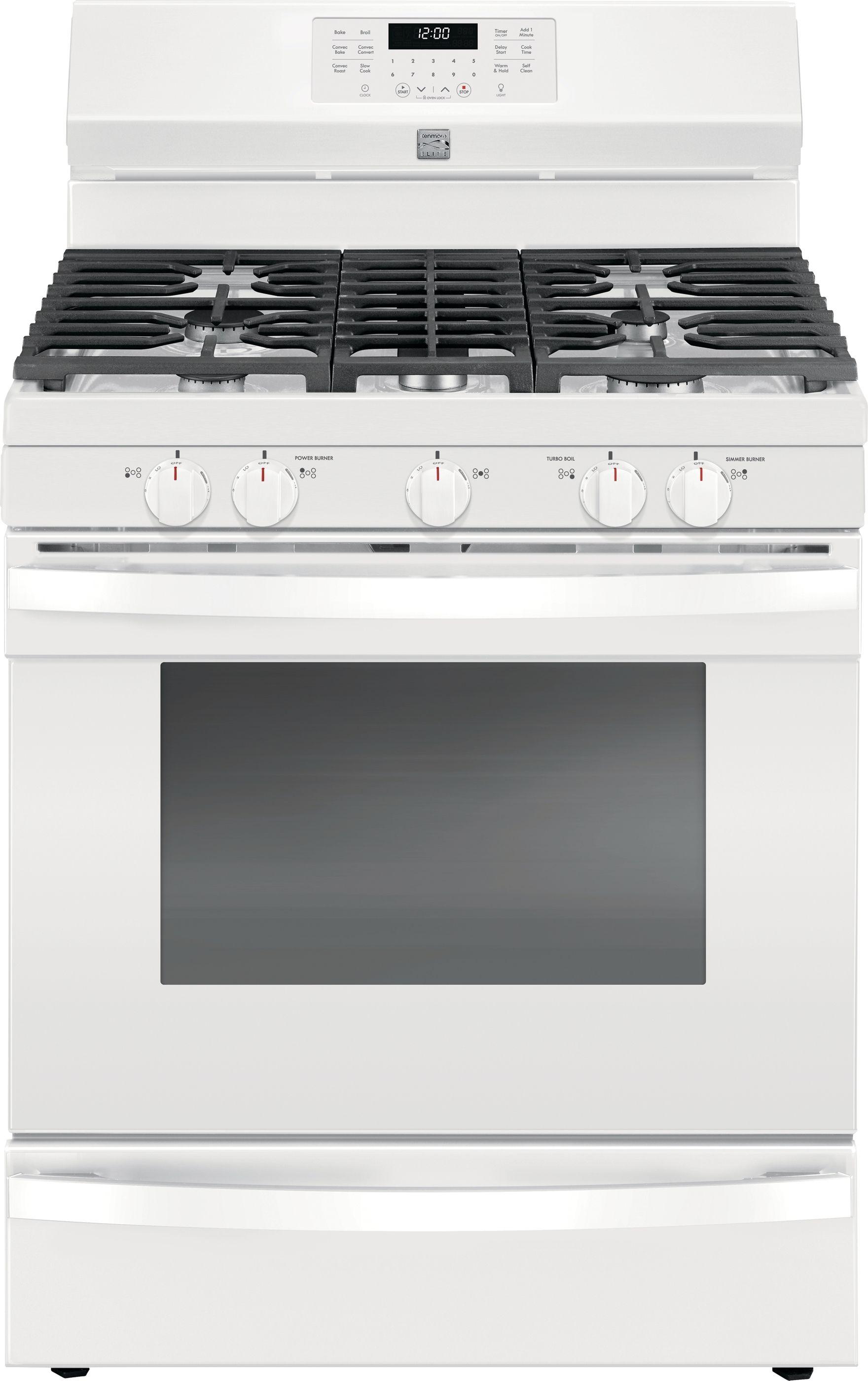 Kenmore Elite 74462 5 6 Cu Ft Gas Range With True Convection White Kenmore Elite Kitchen Appliances Kitchen