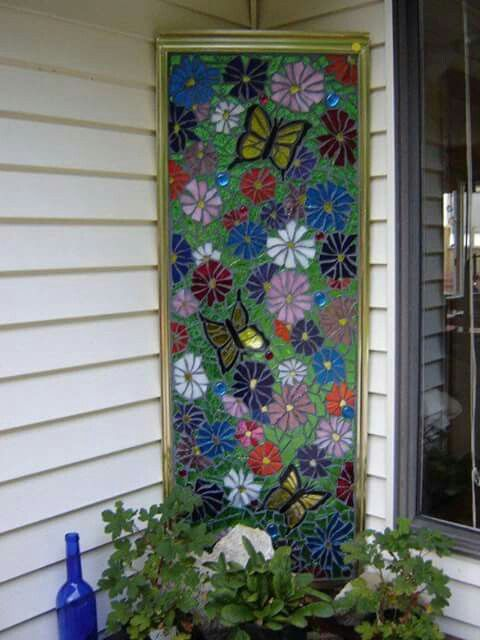 Shower Door Painted As Stained Glass With Lights Behind Design
