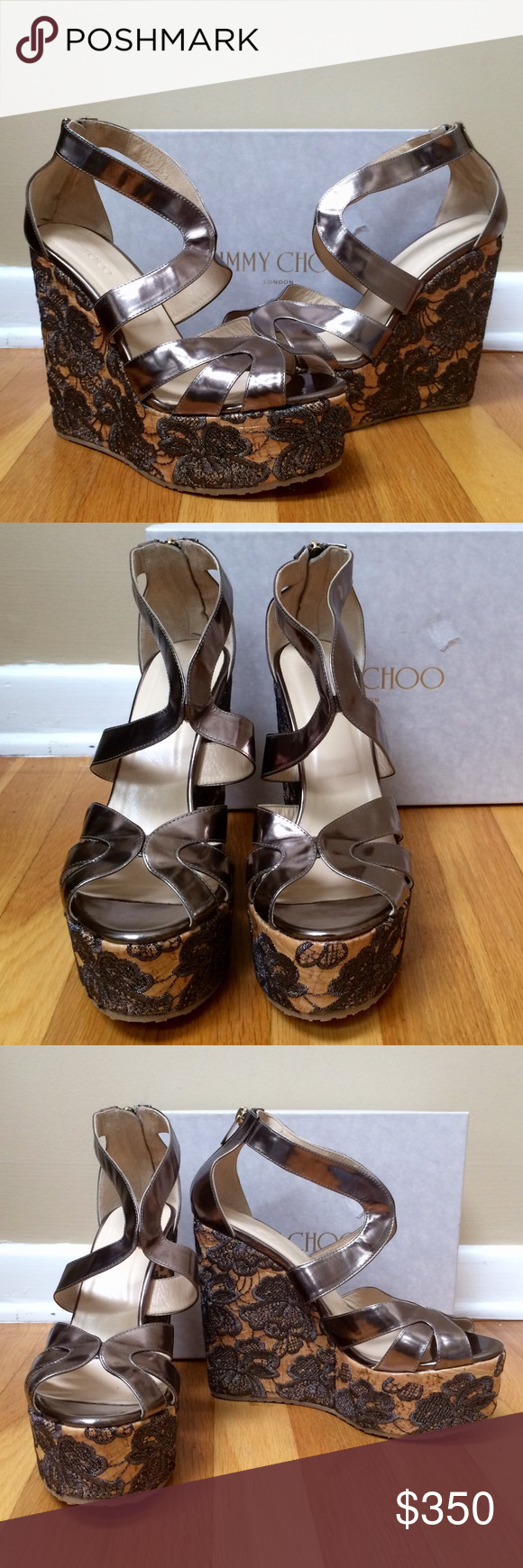 dd8d452759e JIMMY CHOO Size 41 Leather Parrow Platform Wedges Jimmy Choo Bronze Leather   Parrow  Platform