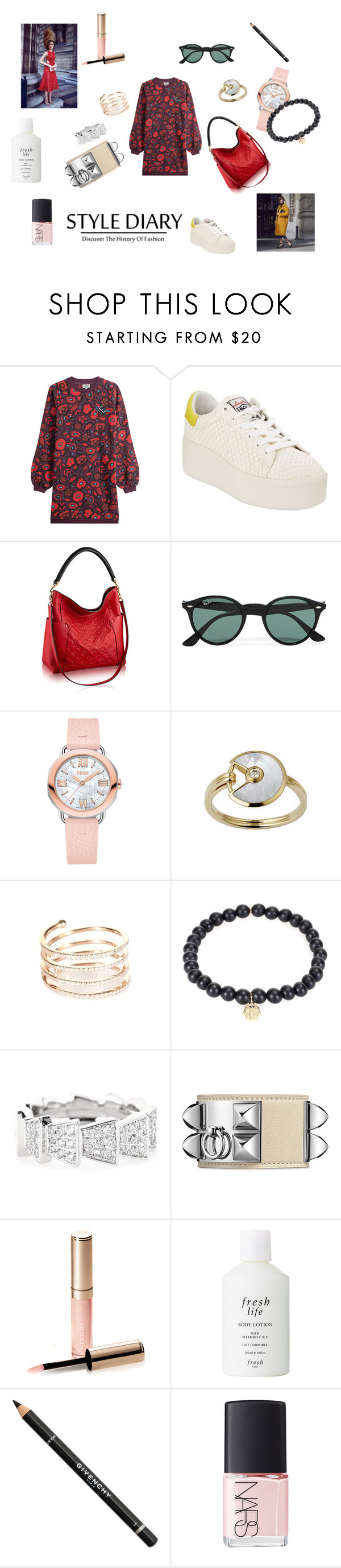 """""""City and running in a hurry"""" by maria-chamourlidou ❤ liked on Polyvore featuring Kenzo, Ash, Ray-Ban, Fendi, Cartier, STONE, Sydney Evan, Cada, By Terry and Fresh"""