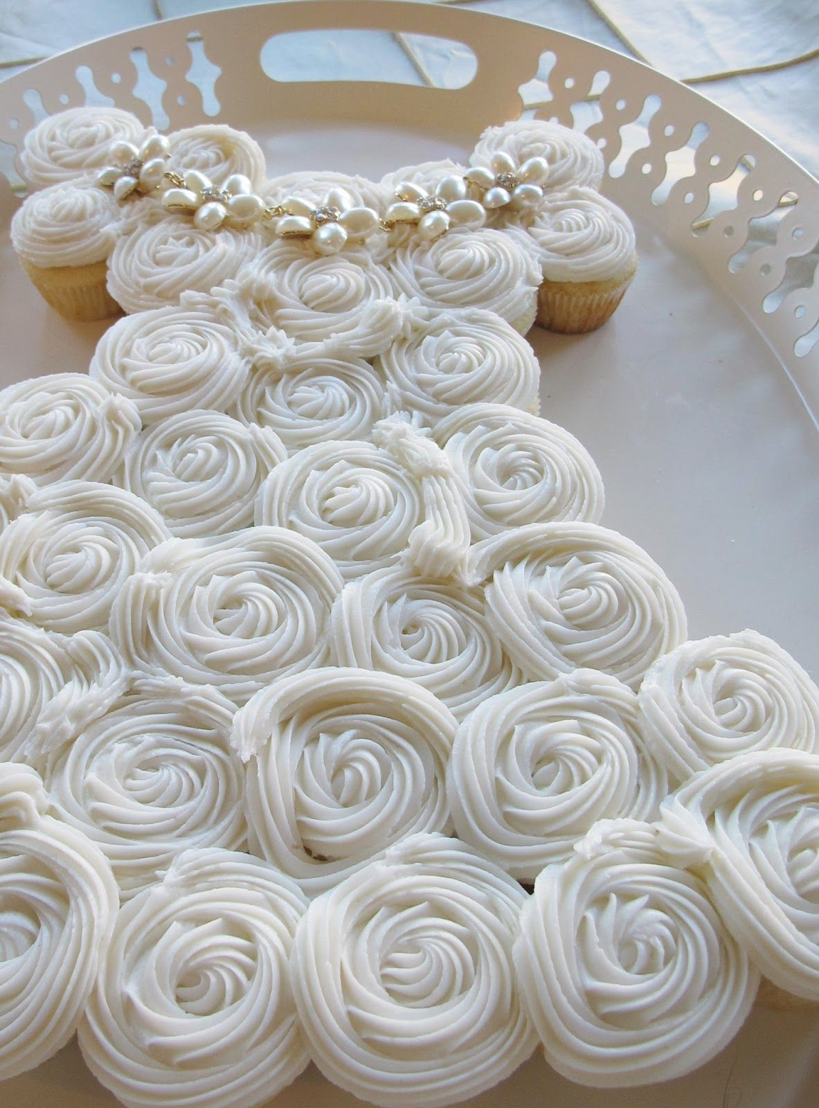 Cupcake Cake In The Shape Of A Wedding Dress For Bridal Shower Description From