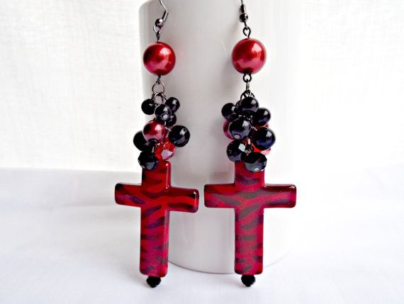 Large Cross Earrings Chunky Red Beaded Dangle Goth
