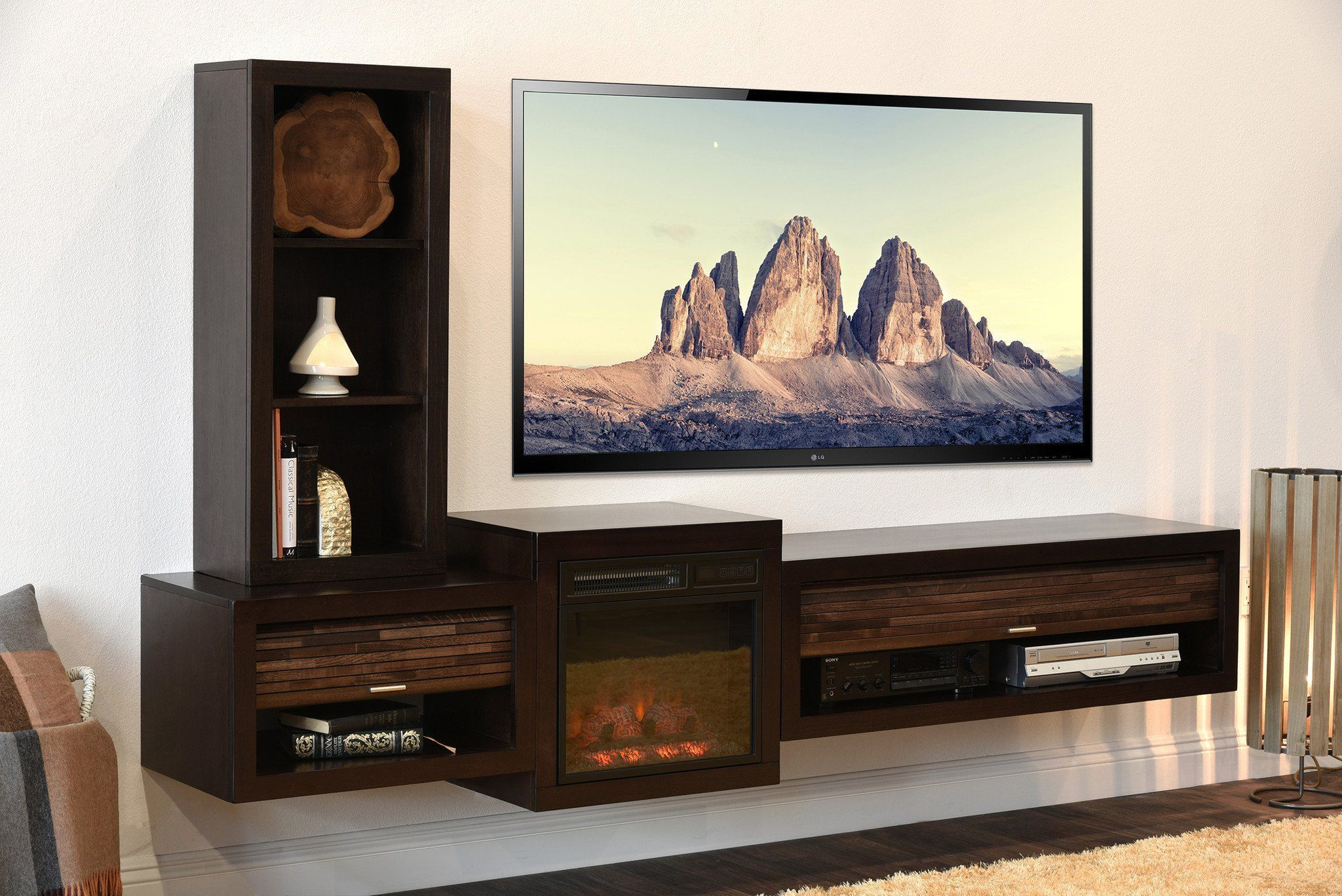 Floating Tv Stand With Fireplace Eco Geo Espresso Woodwaves Livingroomideas Floating Tv Stand Fireplace Tv Stand Diy Tv Stand