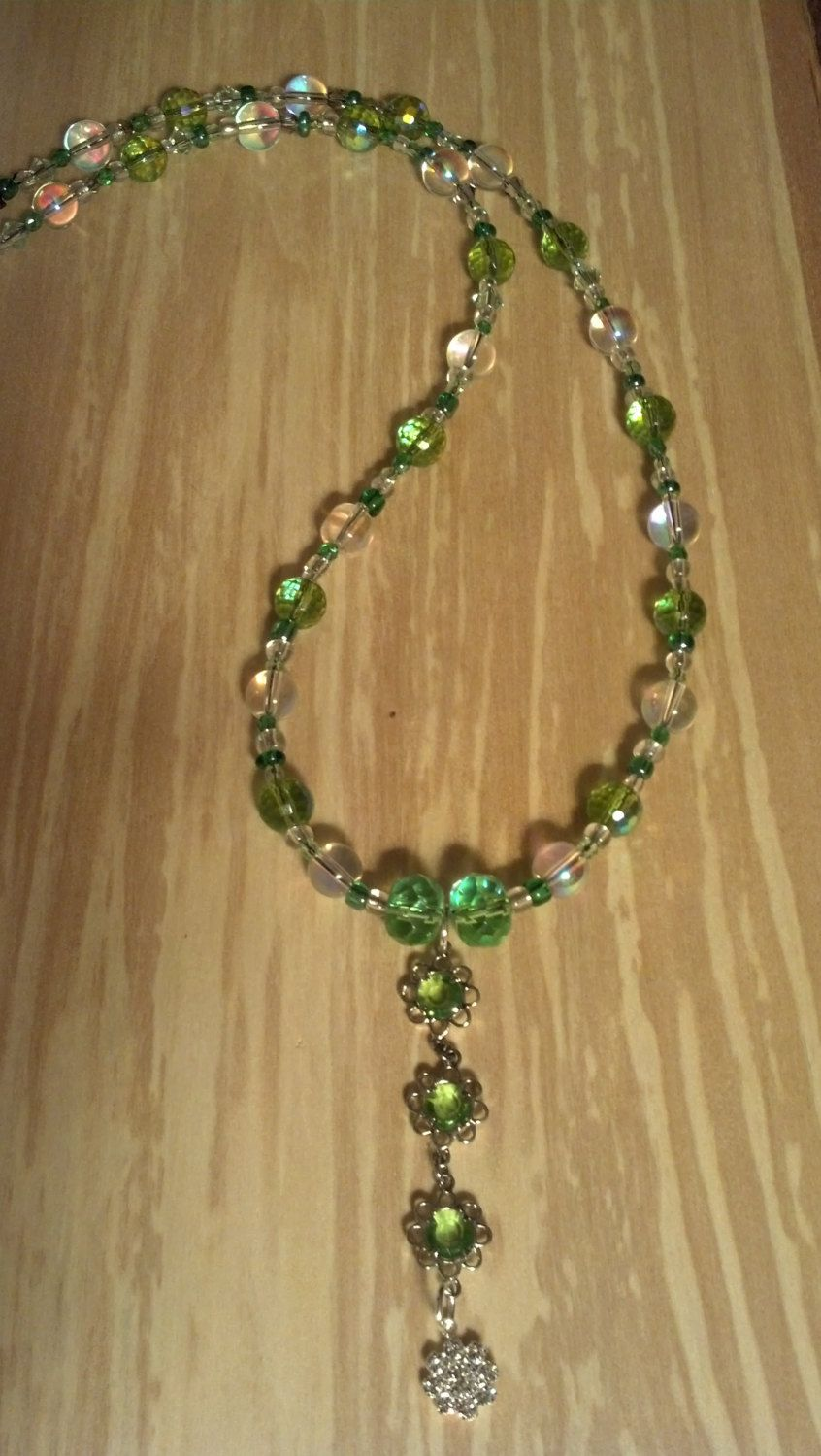 Spring+Green+and+Iridescent+Glass+Beads+21+Inch+by+FlowerFelicity,+$18.00