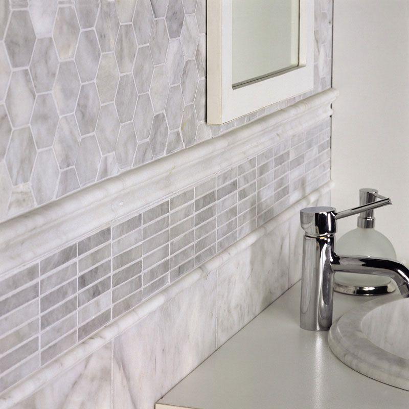 Avenza Honed 5 8x3 Marble Mosaics 12x12 Tile Bathroom Traditional Bathroom Tile Bathroom Flooring