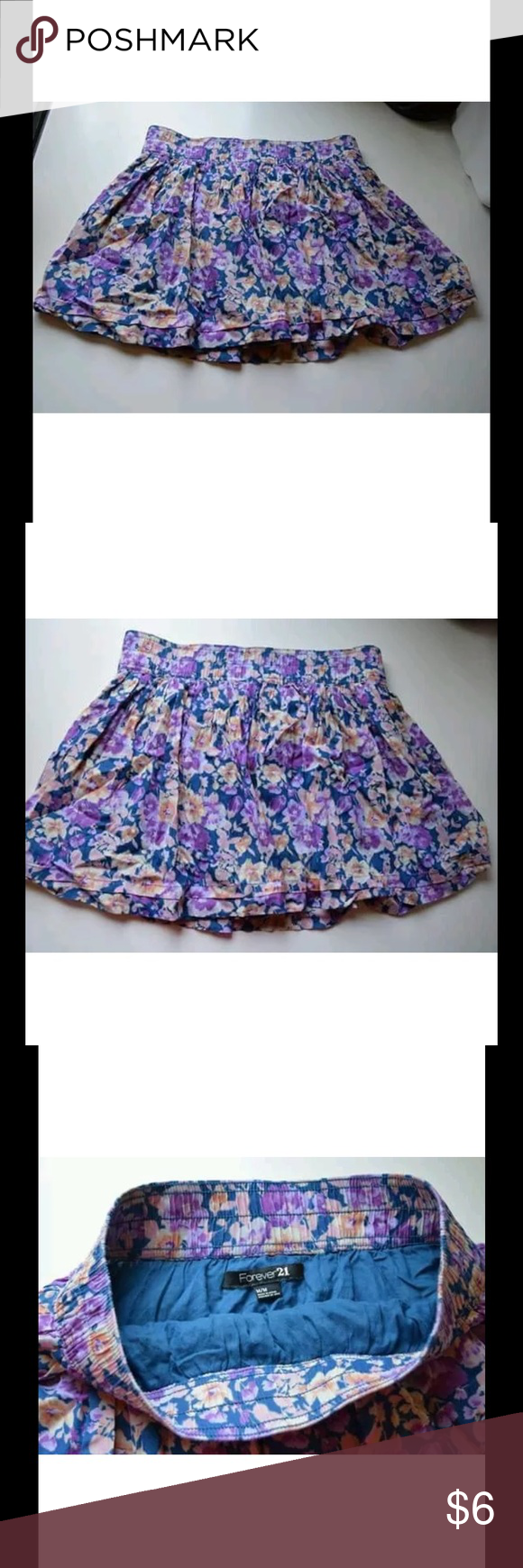 Forever 21 Floral Skirt Size M Shell: 65% viscose, 35% cotton. Linning: 100% cotton. In good condition Forever 21 Skirts Mini