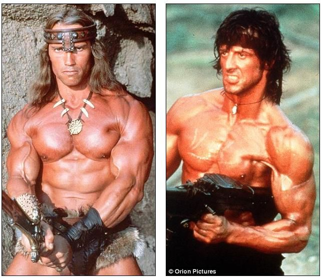 Arnold Schwarzenegger And Sylvester Stallone Aka Conan Rambo 2 Of The Best 80s Action Heroes