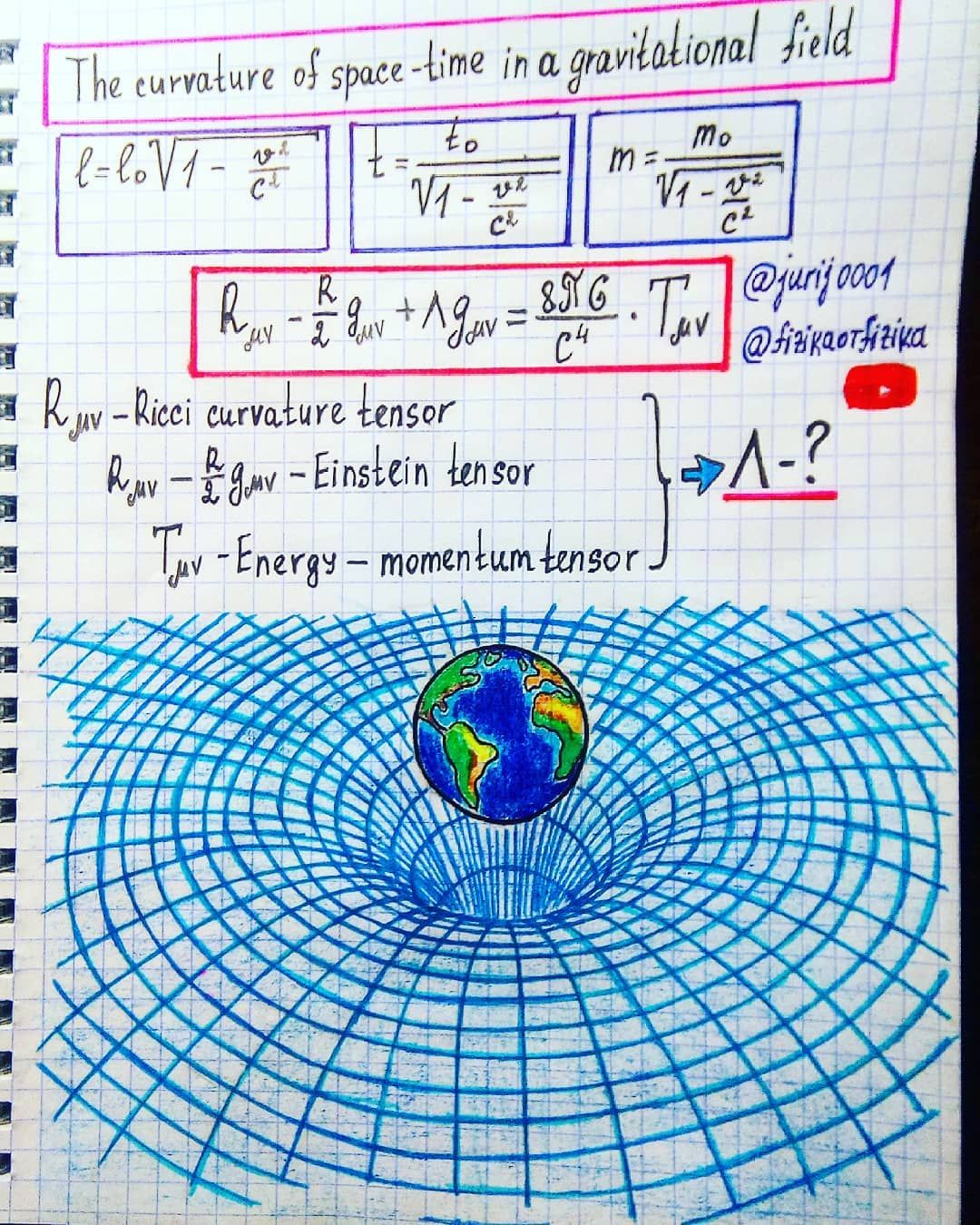 The Curvature Of Space Time Gravitational Effects Are Not Due To The Force Interaction Of Bodies And Physics And Mathematics Physics Concepts Learn Physics