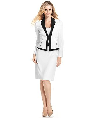 Tahari By Asl Suit Colorblock Trim Jacket Skirt Womens Suits