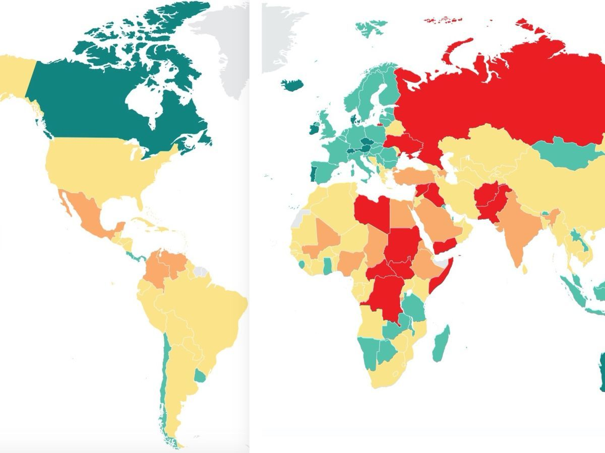 Mapped the world s most and least peaceful countries