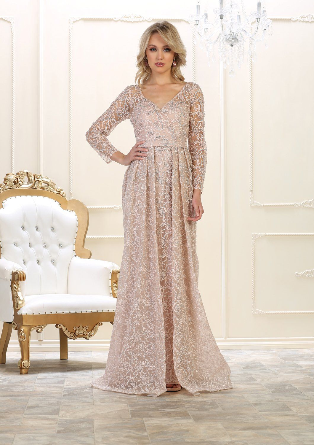 Long sleeve formal dress modest gown in products pinterest