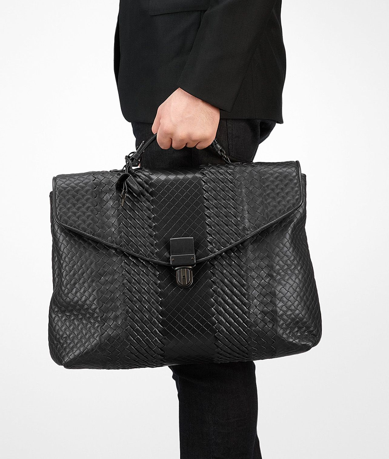 fdcb32132fc3 Shop Bottega Veneta® Men s Nero Intreccio Imperatore Briefcase. Discover  more details about the item.