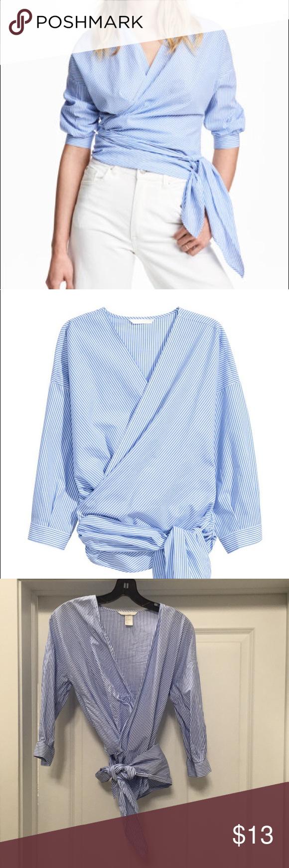 H\u0026M Striped Wrap Top | Clothes design