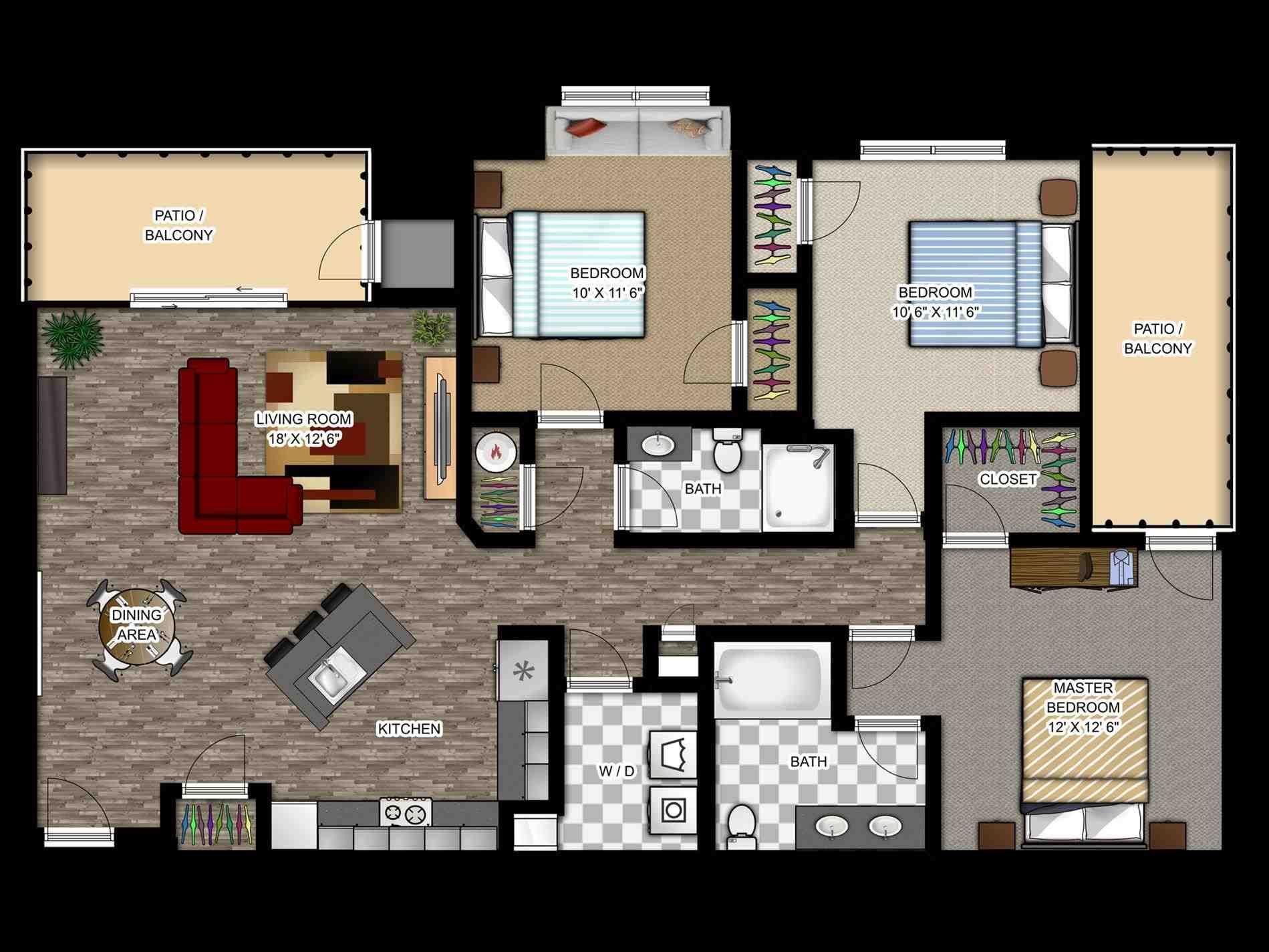 Luxury Apartment Floor Plans B1 2 Bedroom View Floor Plan Cool Showy Studio Apartment Design Bedroom House Plans Modern House Floor Plans Apartment Sites