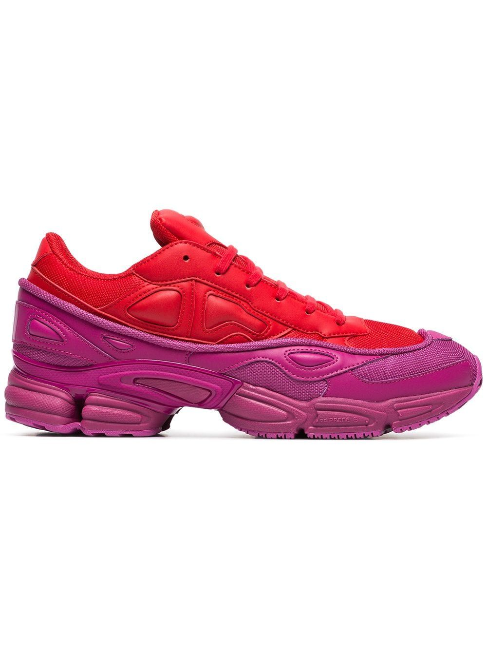 44056294acbe8 ADIDAS BY RAF SIMONS ADIDAS BY RAF SIMONS RED AND PINK OZWEEGO LEATHER  SNEAKERS.  adidasbyrafsimons  shoes