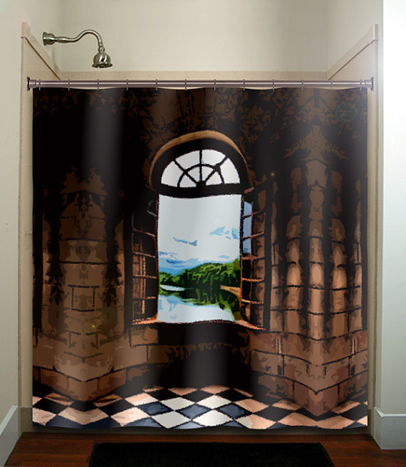 Castle window shower curtain bathroom decor by tablishedworks shower curtains - Decorative windows for bathrooms ...