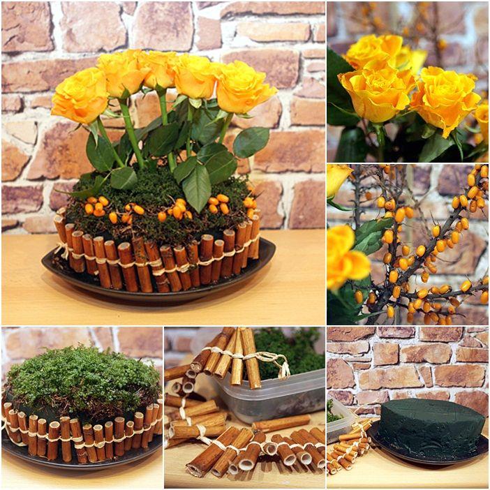 Floral Arrangement Ideas Endearing 4 Diy Flower Arrangement Ideas Yellow Roses Bamboo Stalks Rosehips Design Inspiration