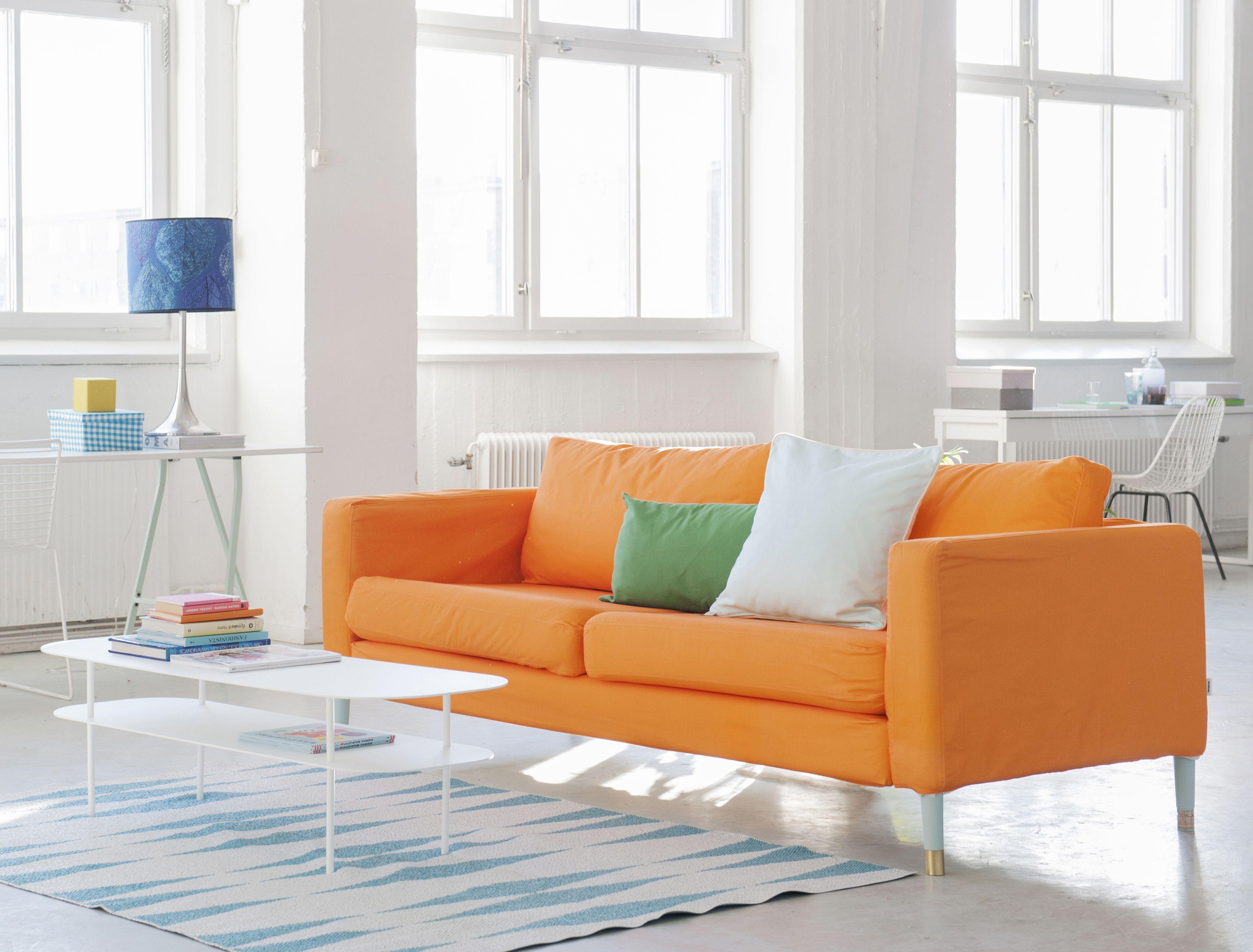 Karlstad 3 Seater Sofa Cover Loose Fit Orange