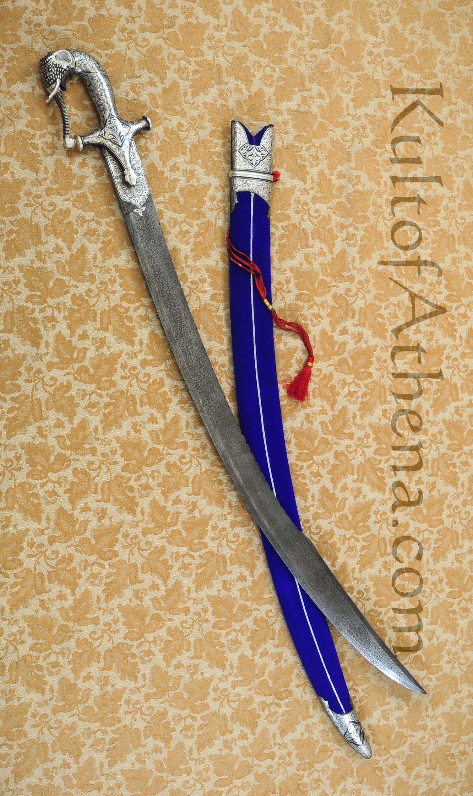 Damascus Indian Talwar With Wooden Display Case   Sword design ...