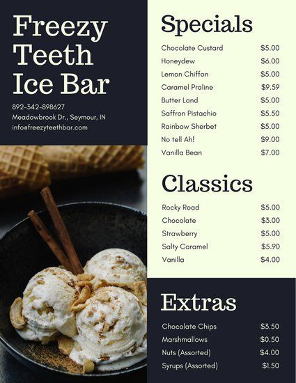 Ice Cream in Bowl Dessert Menu ice cream logo Pinterest Menu