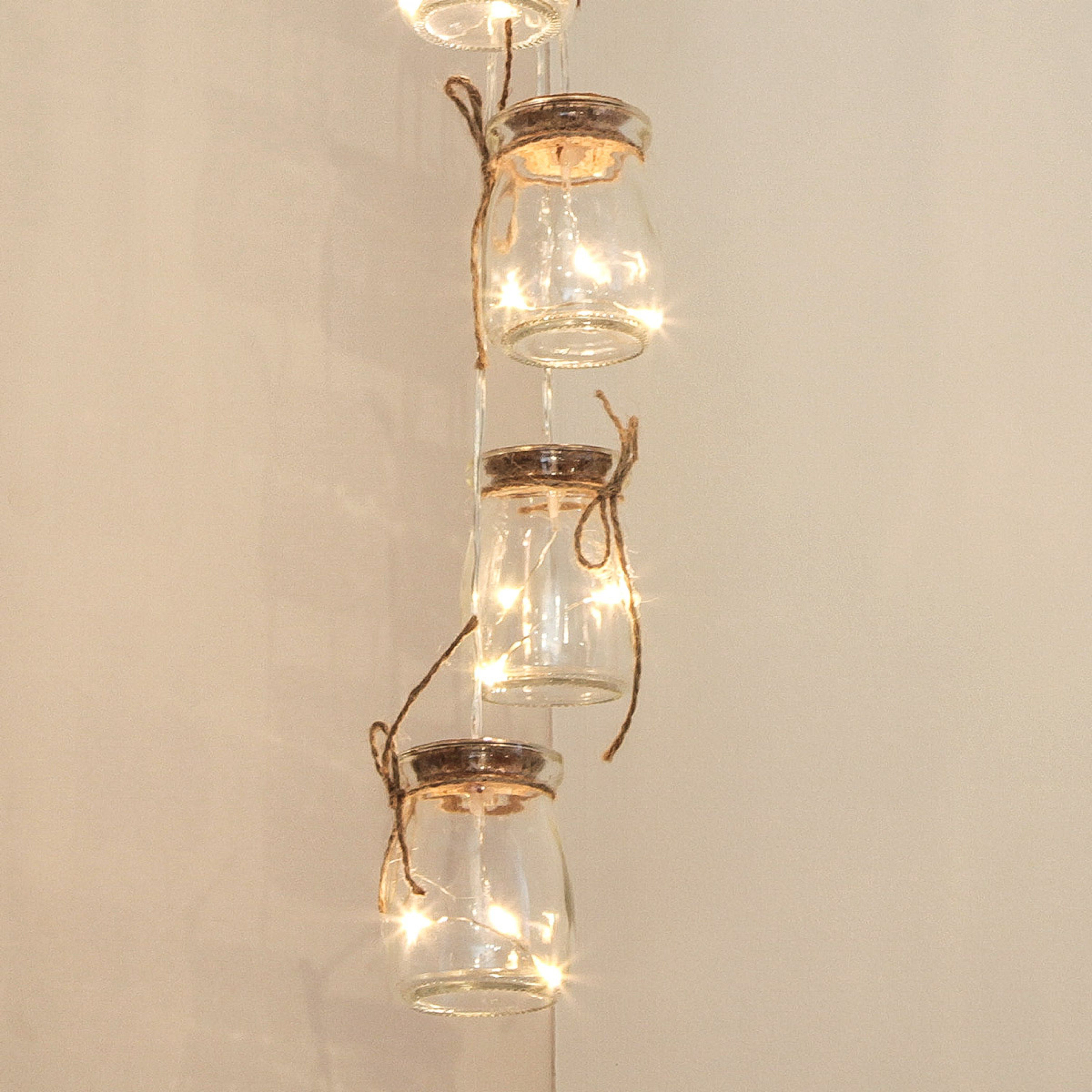 Battery Glass Jar Silver Micro Naked Wire Fairy Lights, 15