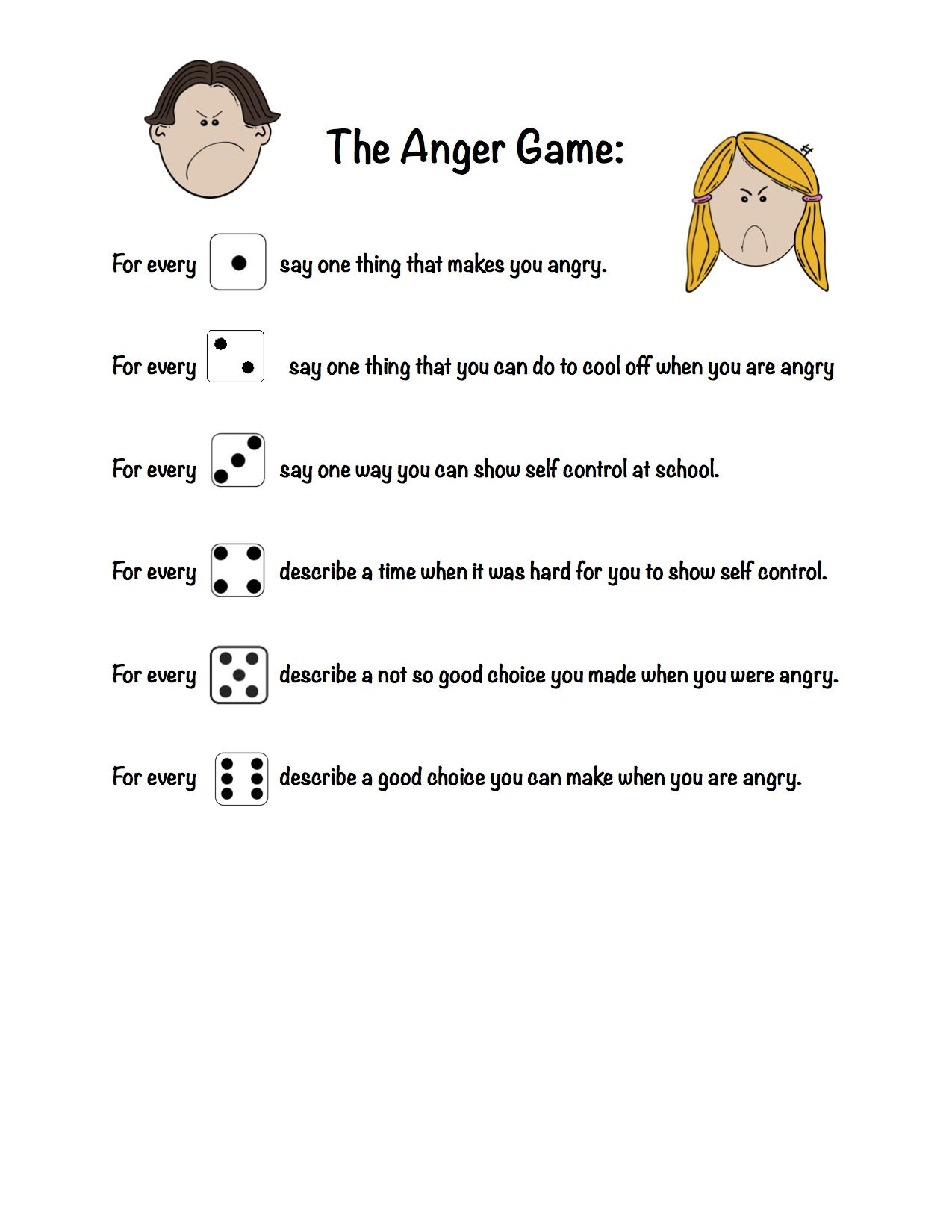 Worksheets Anger Worksheets For Kids the anger game used with one dice and helpful for kids working on controlling anger