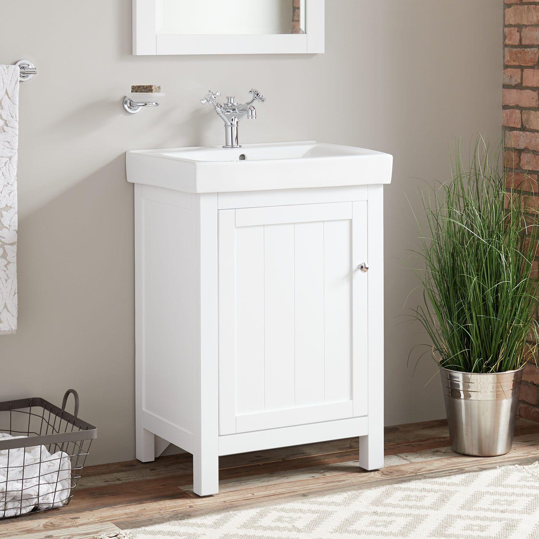 """24"""" Buren Vanity White Narrow Vanities Bathroom"""