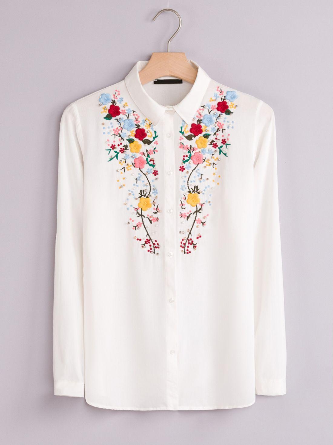 6485241affbb1 KOSZULA DAMSKA Z HAFTEM I PEREŁKAMI - koszule na każdą okazję w sklepie  FLORENCE ME