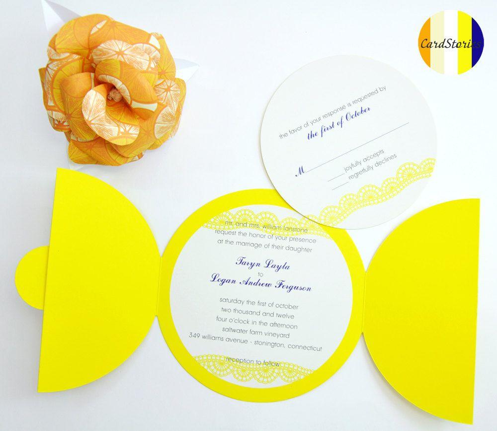 Lemon yellow wedding invitations set of round invitations