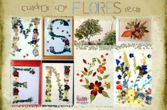 Cuadros con hojas y flores secas    wwwmanualidadesinfantiles - flores secas