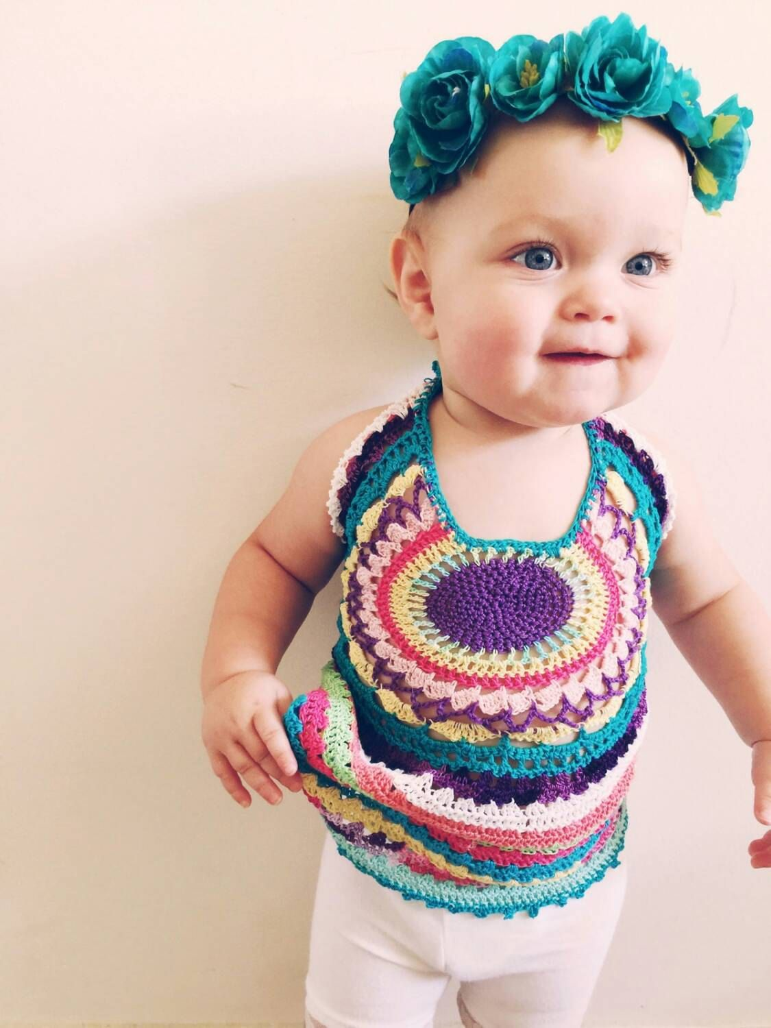 Chidrens halter top, kids crocheted top,kids hippie top, kids fashion, children's clothing - pinned by pin4etsy.com